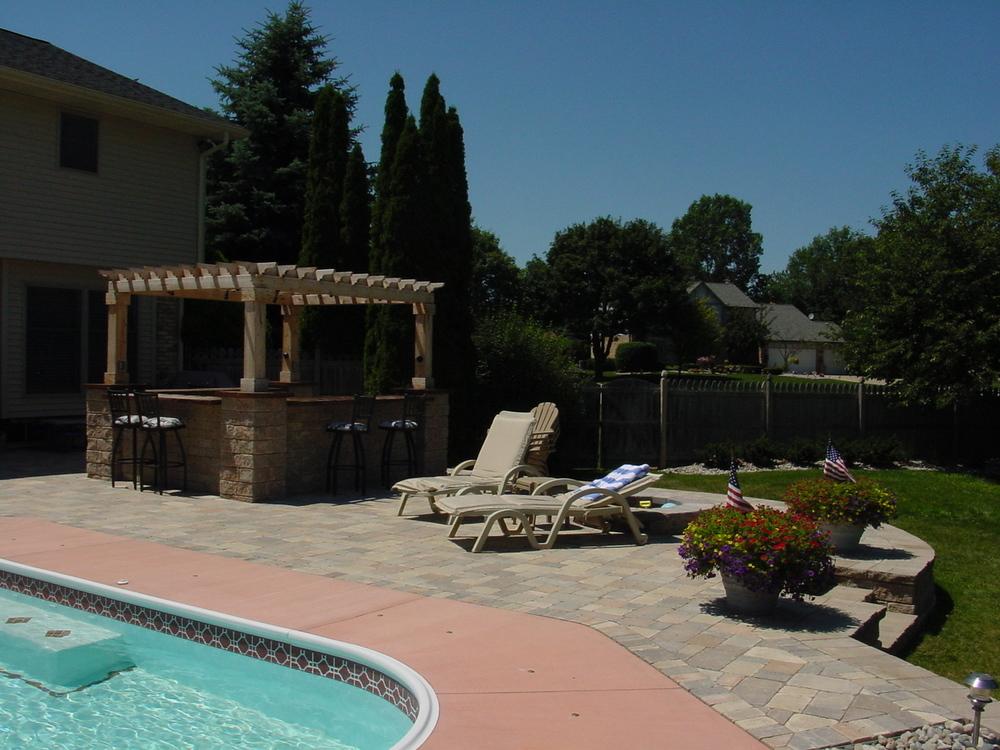 backyard with pool and custom bar