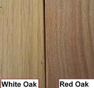 side by side red oak and white oak