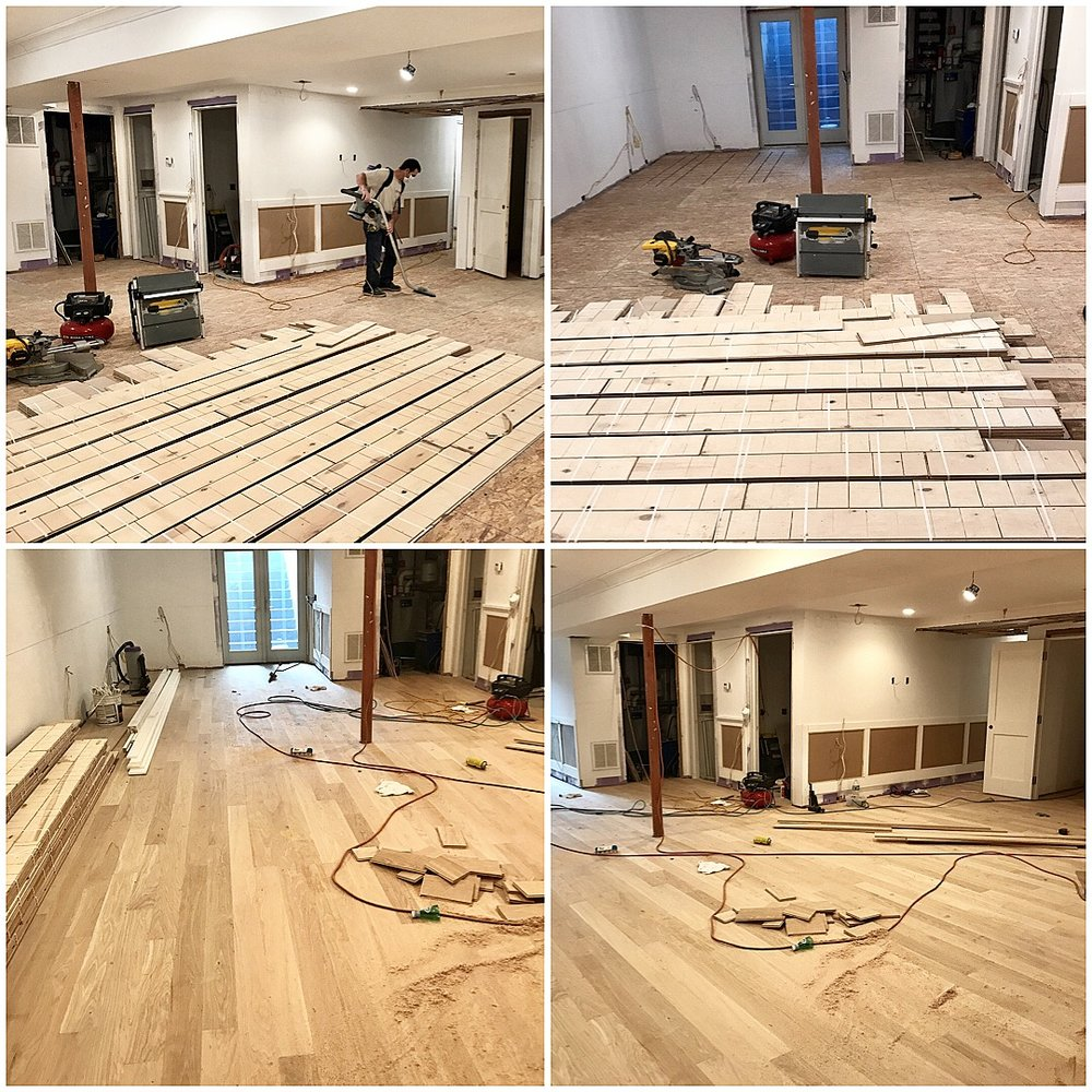 Southampton basement Engineered White Oak Installation  - Installing Unfinished 4