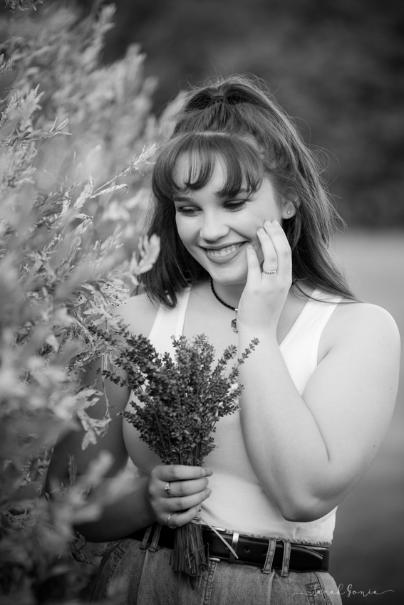 Olympia Senior Photographer Evergreen Lavender Farm Black and White