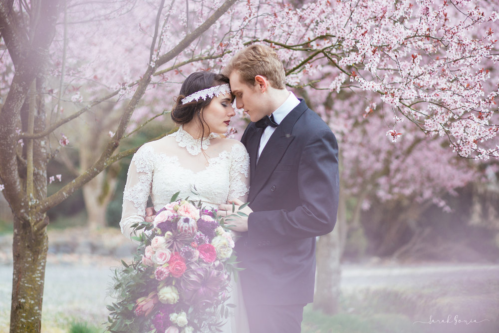 Vintage Cherry Blossom Elopement | Olympia Wedding Photographer