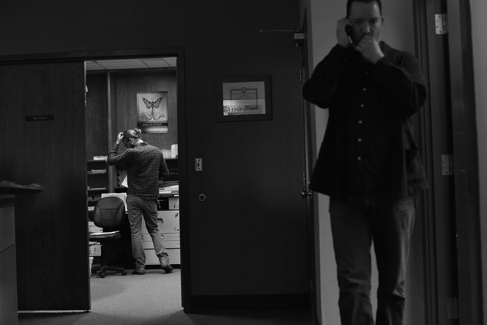 Sam Stephenson (foreground), Bryan Crow in the doorway.