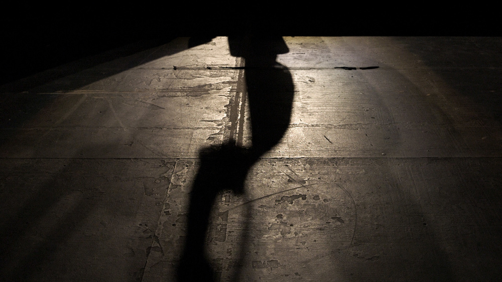 Wu Man's shadow against the stage floor at the Tennessee Theater. Video still by Carter McCall