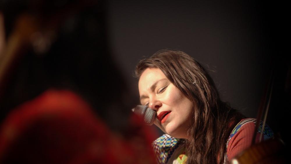 Inuit throat singer Tanya Tagaq at her performance with the Kronos Quartet. Video still by Ligaiya Romero