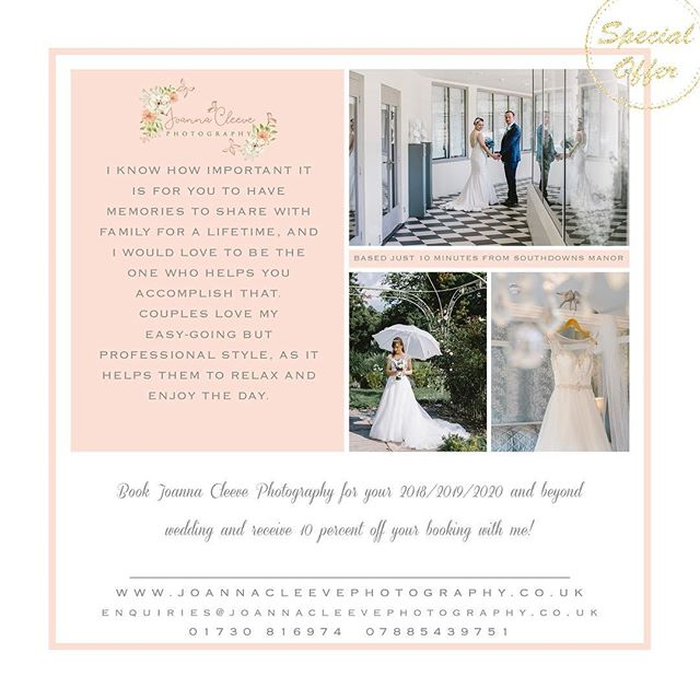 *Southdowns Manor Exclusive Offer* . Are you getting married at Southdowns Manor and looking for a photographer to capture your special day? I am a recommended supplier at this gorgeous venue and I have photographed 22 weddings there and I am so lucky to live only 10 minutes away from it! . I am pleased to offer 10% off all my regular collections booked for weddings at Southdowns Manor! . T&Cs This offer cannot be used in conjunction with any other offers e.g. wedding fayre, social media etc... . https://www.joannacleevephotography.co.uk/blog-4/2018/2/1/southdowns-manor-wedding-venue-trotton-west-sussex . @southdownsmanor