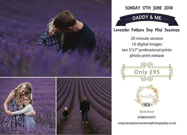 """Would anyone be interested in Lavender mini sessions this year? I have a private slot for Lordington Lavender on Sunday 17th June 2018. . The session will be £95 for 20 minutes at the Lavender field with 10 digital files and ten 7""""x5"""" professional prints . Please contact if you may be interested and I'll look into booking a slot. There would be 6 slots available :) A booking fee of 50% would be required to book your slot :) . 9am 9:30am 10am 10:30am 11am 11:30am . If you book via the link below full payment will be taken upfront :) http://joannacleevephotographyminisessionsandmore.bigcartel.com/product/lavender-mini-sessions"""