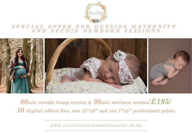 """*SPECIAL OFFER* OUTSIDE PREGNANCY & NEWBORN SESSIONS  These are available in 2018. The newborn sessions are for babies aged between 5-21 days old. Parents/siblings photographs are included during the newborn session as standard. Dresses for your pregnancy session supplied by my studio and outfits for your babies newborn session supplied by my studio.  A 60 minutes bump & 90 minutes newborn (up to 2 weeks old) at my studio and time editing photographs with 10 digital files on downloadable gallery or by email, one 12""""x8"""" and ten 7""""x5"""" professional prints – £195* (Also available for either of them individually)  Tag those who are expecting anytime this year or have a new addition to the family coming soon.  https://www.joannacleevephotographymidhurst.co.uk/  Joanna 'Claire' Cleeve Audrey Cleeve Nikki Jane Cleeve"""