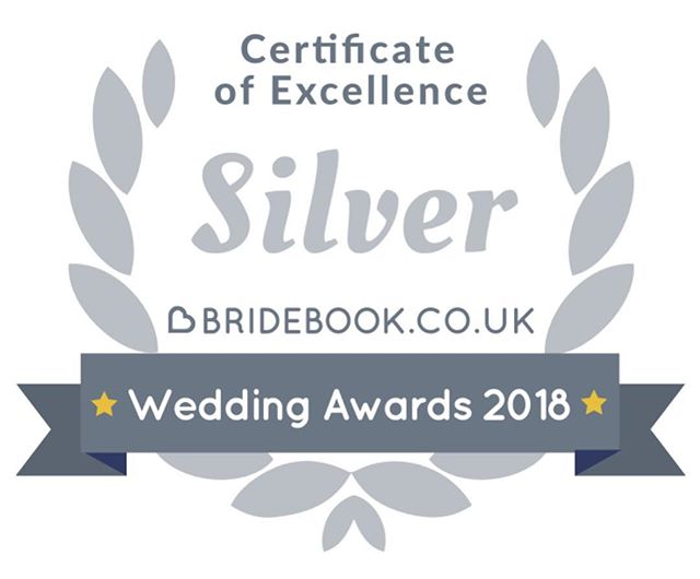 """Thank you so much to all my lovely couples as look what I've gone and won from Bridebook - The UK's No.1 Wedding Planning App 😃 A Silver Certificate of Excellence and that's all due to the lovely kind reviews and testimonials my clients have left me recently 💕 Thank you so much to all of you that took the time to kindly leave a review or testimonial. This means so so much to me! . """"Out of hundreds of participants, you won the Silver Bridebook Wedding Awards 2018 Badge of Excellence!"""""""