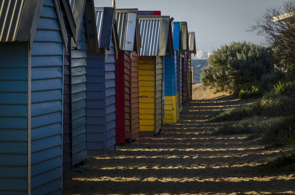 Brighton Beach Boxes at Dendy Street Beach PHOTOGRAPHY : ALEXANDER J.E. BRADLEY - NIKON D7000 - 18-140 F/3.5-5.6 @ 140MM - F/5.6 - 1/250 - ISO 100