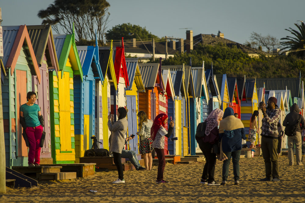 Brighton Beach Boxes at Dendy Street Beach PHOTOGRAPHY : ALEXANDER J.E. BRADLEY - NIKON D7000 - 80-200 F/2.8 @ 200MM - F/8 - 1/250 - ISO 100