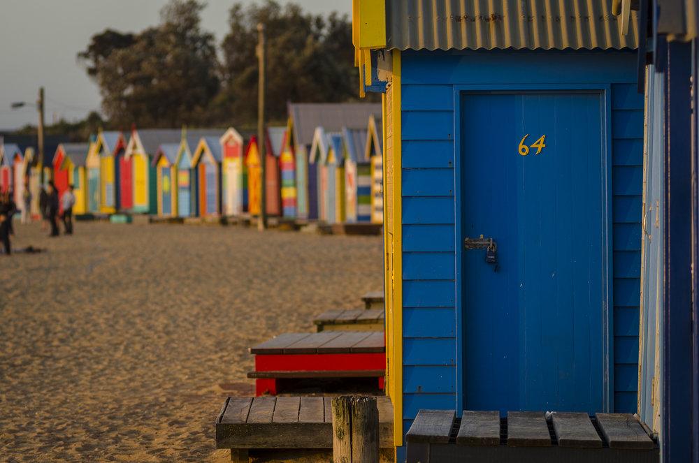 Brighton Beach Boxes at Dendy Street Beach PHOTOGRAPHY : ALEXANDER J.E. BRADLEY - NIKON D7000 - 80-200 F/2.8 @ 120MM - F/4 - 1/250 - ISO 100