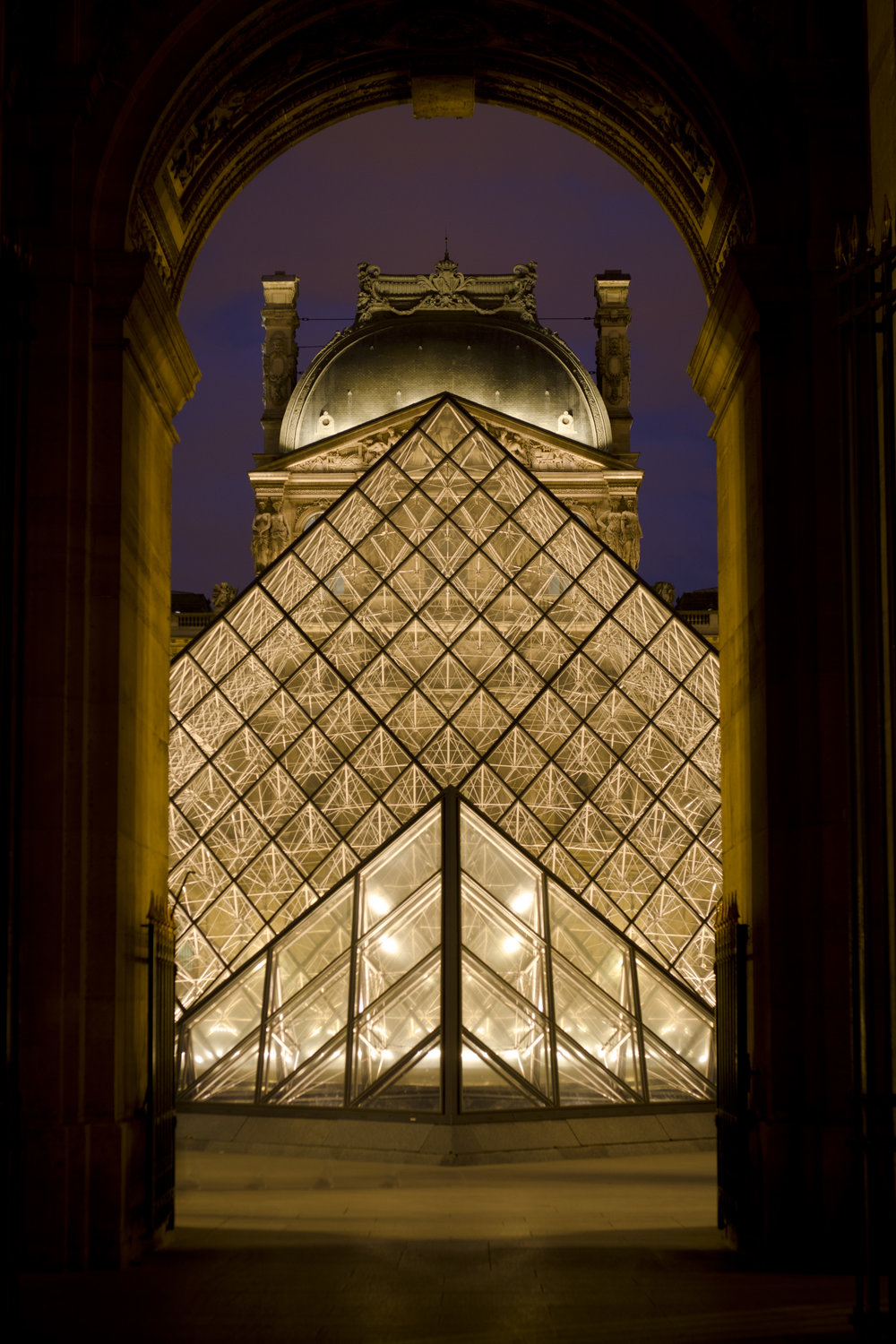 The Pyramid at the Louvre is perfectly framed by the archway. Photo by Alexander J.E. Bradley.