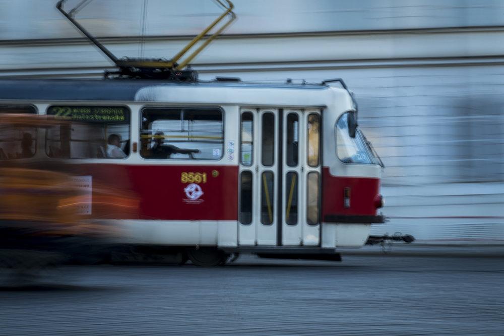 Prague TatrA T3 tram (on a tripod)  PHOTOGRAPHY: ALEXANDER J.E. BRADLEY •NIKON D500 • AF-S NIKKOR 24-70MM Ƒ/2.8G ED @ 70MM • Ƒ/22 •1/5•ISO 50