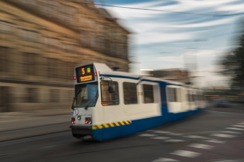 Amsterdam BN tram (on a tripod)  PHOTOGRAPHY: ALEXANDER J.E. BRADLEY •NIKON D500 • AF-S NIKKOR 14-24MM Ƒ/2.8G ED @ 14MM • Ƒ/16 •1/6•ISO 50
