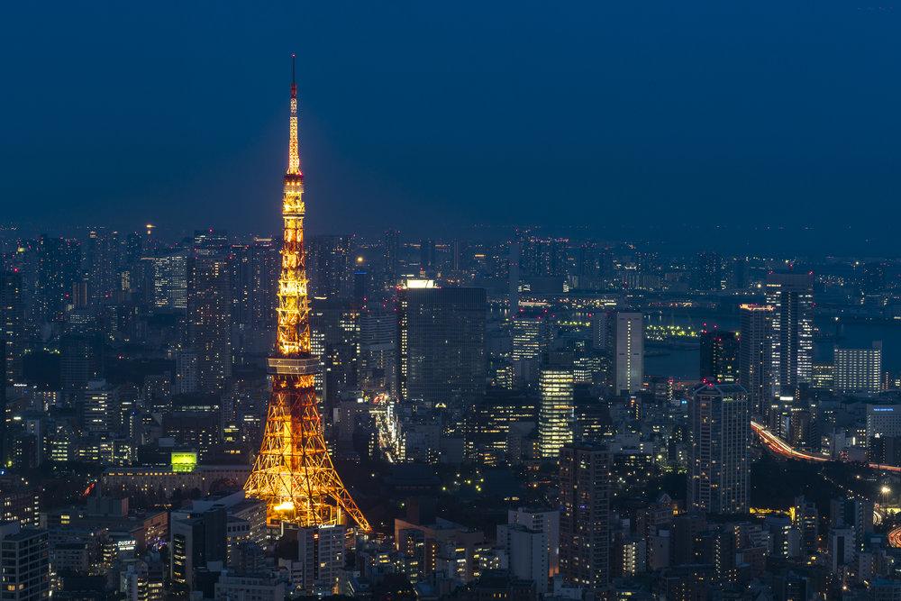 Tokyo Tower from the Mori Tower  PHOTOGRAPHY: ALEXANDER J.E. BRADLEY • NIKON D500 • AF-S NIKKOR 24-70MM Ƒ/2.8G ED @ 56MM • Ƒ/11 • 5 sec • ISO 50