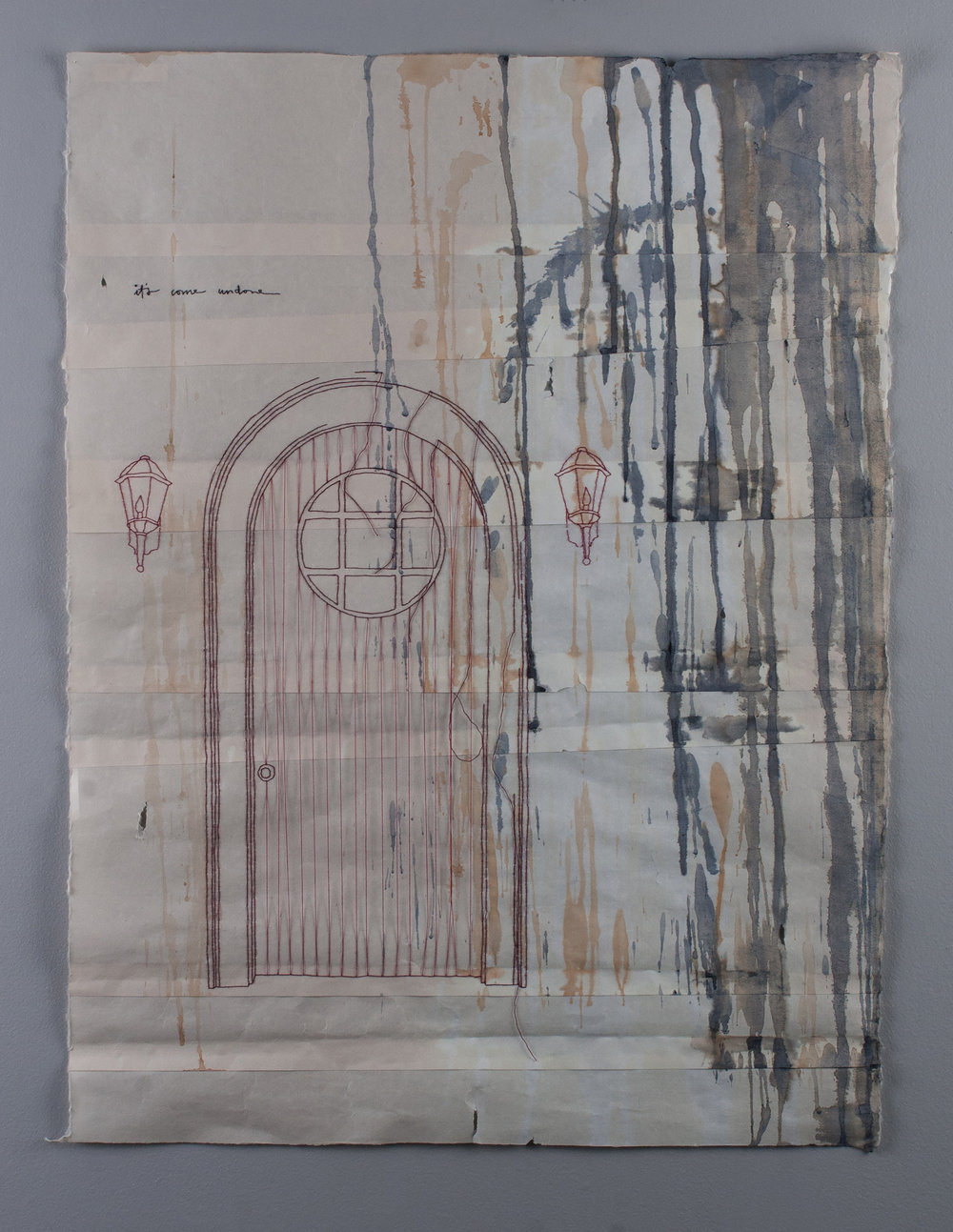 closed and unlit (it's come undone)   2013 work on paper with embroidery, tea, and watercolor