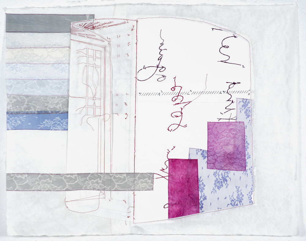 patching/reversing (window)   2014 monoprint with embroidery and etching