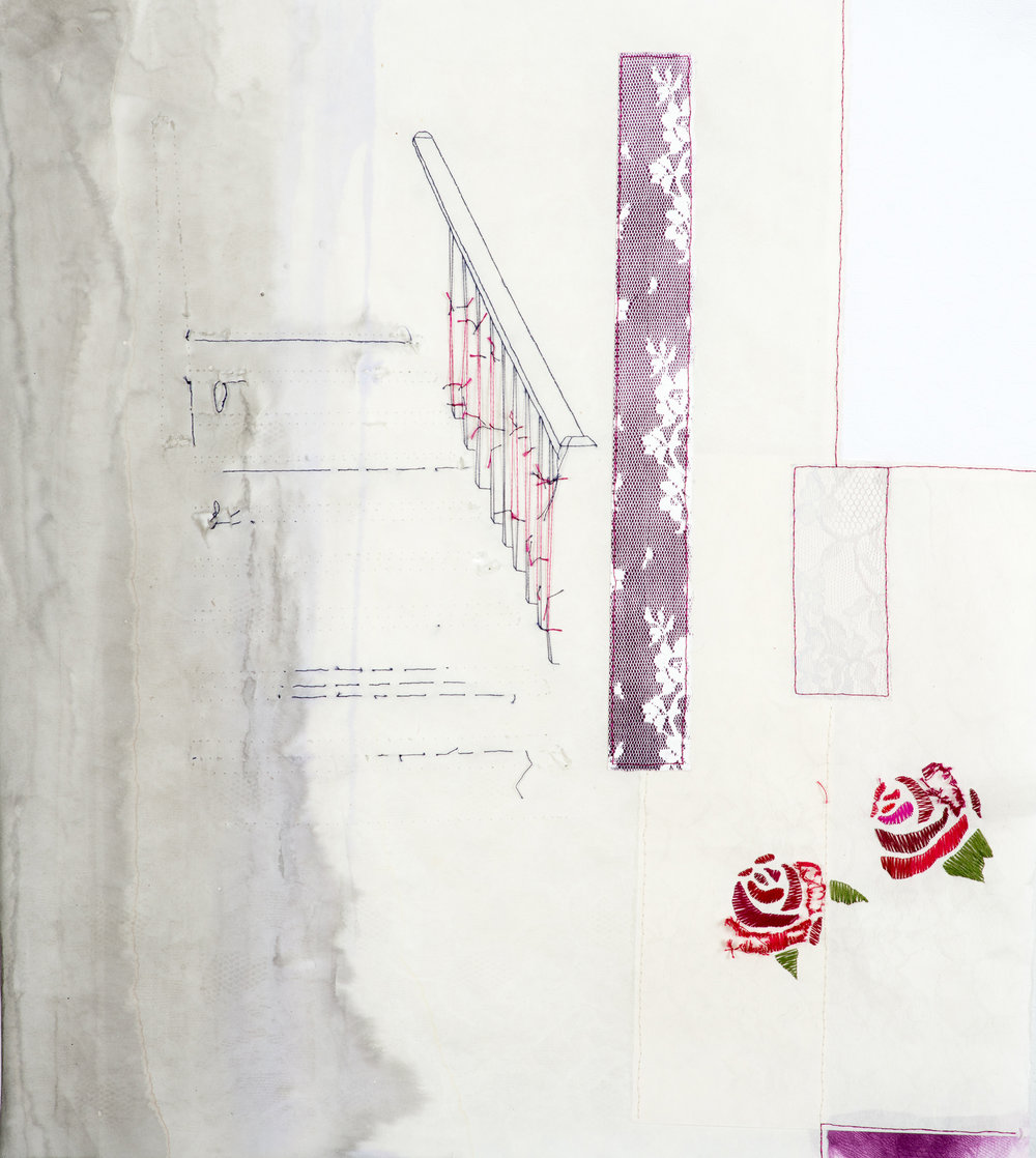 picking/knotting (stairs)   2014 monoprint with embroidery, handmade paper, and dyeing