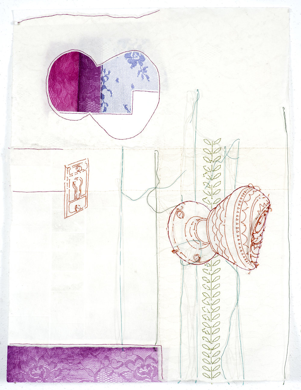 removing/shifting (doorknob)   2014 monoprint with embroidery, etching, letterpress, and handmade paper