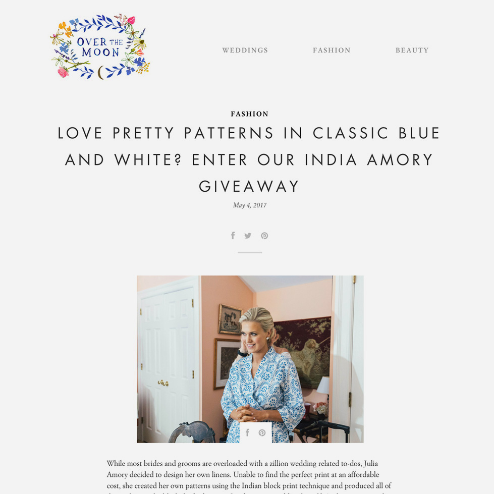 Over the Moon   Love Pretty Patterns In Classic Blue And White? Enter Our India Amory Giveaway