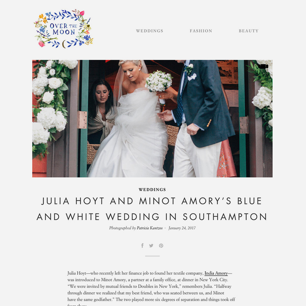 Over the Moon   Weddings: Julia Hoyt And Minot Amory's Blue And White Wedding In Southampton