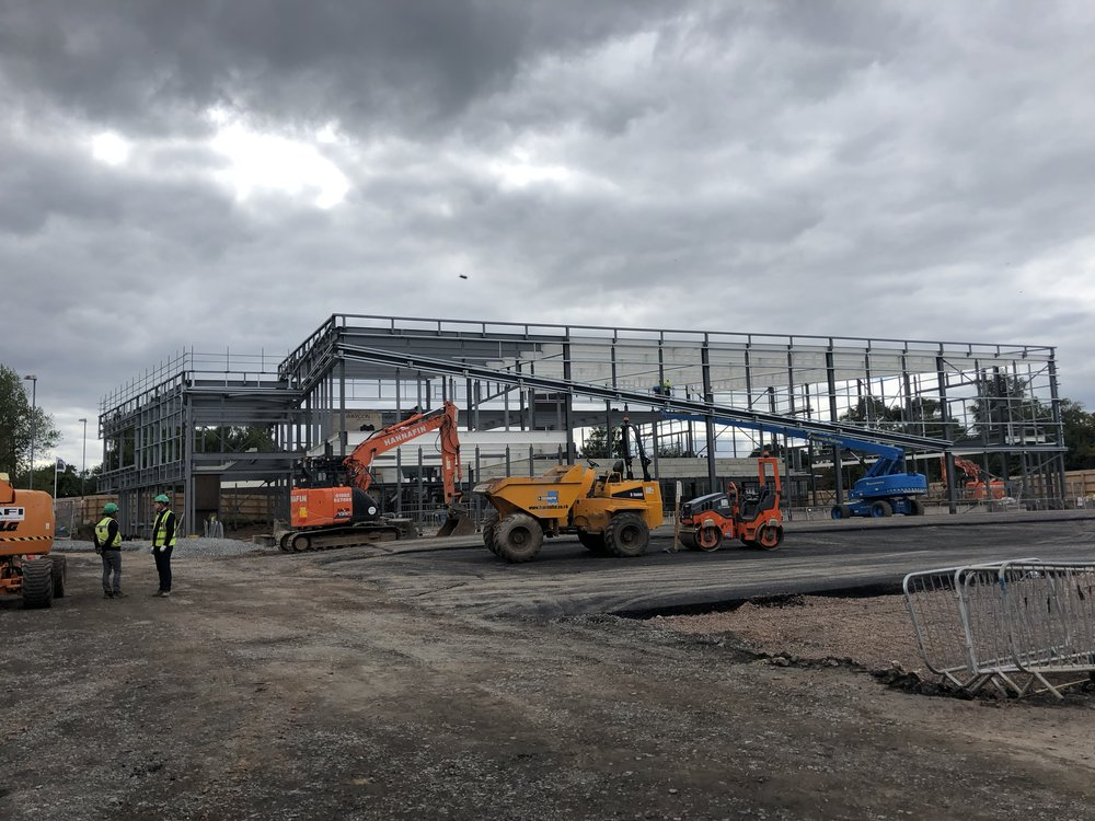 14/09/2018   Cladding / roofing to start October. The scale of the pool hall is immense with the additional terraced seating and larger pool even compared to the other sites, you can just about get a feel from the photos where bodies in the pics to give you a bit of an idea of the scale / massing.