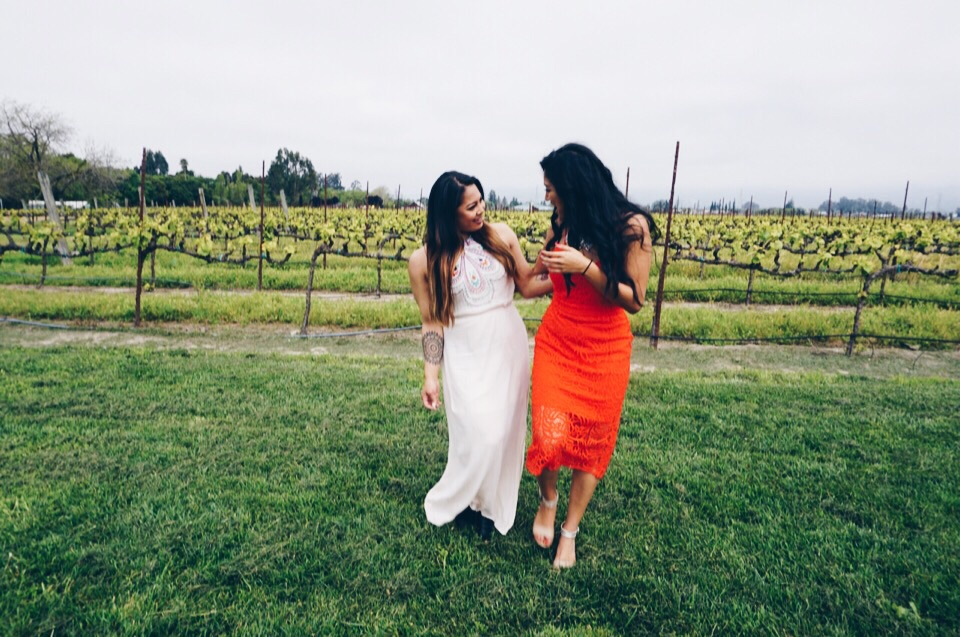 Acting casual in the vineyards.