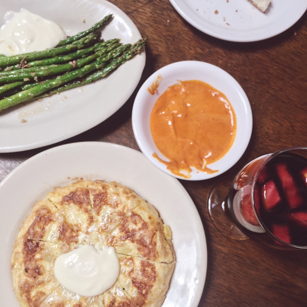 Just a few of our delicious picks on the table, featuring the grilled asparagus and salsa brava that didn't make it into pictures of their own.