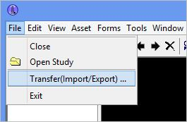 1. Click the   File > Transfer(Import/Export)...     option
