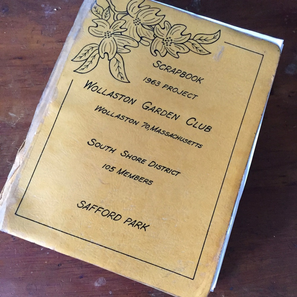 1963 Scapbook from the Wollaston Garden Club project at Safford Park.