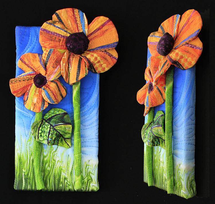 "Sold: Piece A: Double orange flowers,5"" x 10"""