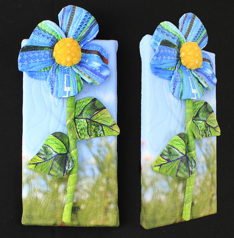 """Piece B: Blue flower, blurred background,5"""" x 10"""""""