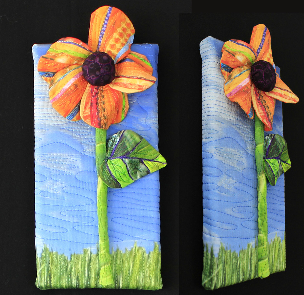 """Sold: Piece C: Orange flower with grass,5"""" x 10"""""""