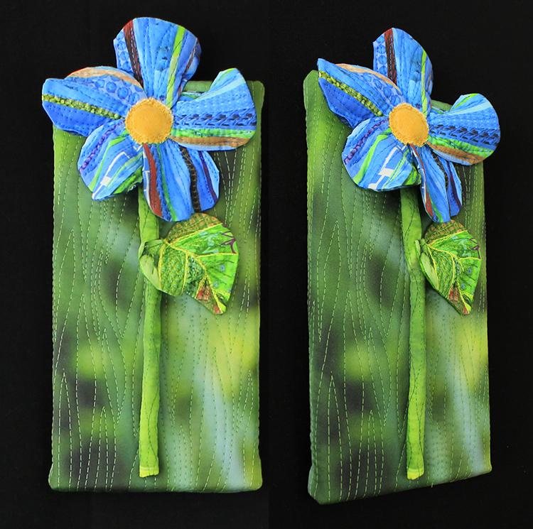 """Sold: Piece D: Blue flower with dark green,5"""" x 10"""""""