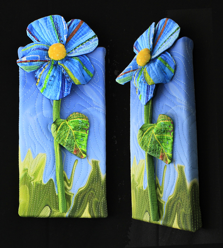 """Sold: Piece E: Blue Flower with marbling,5"""" x 10"""""""