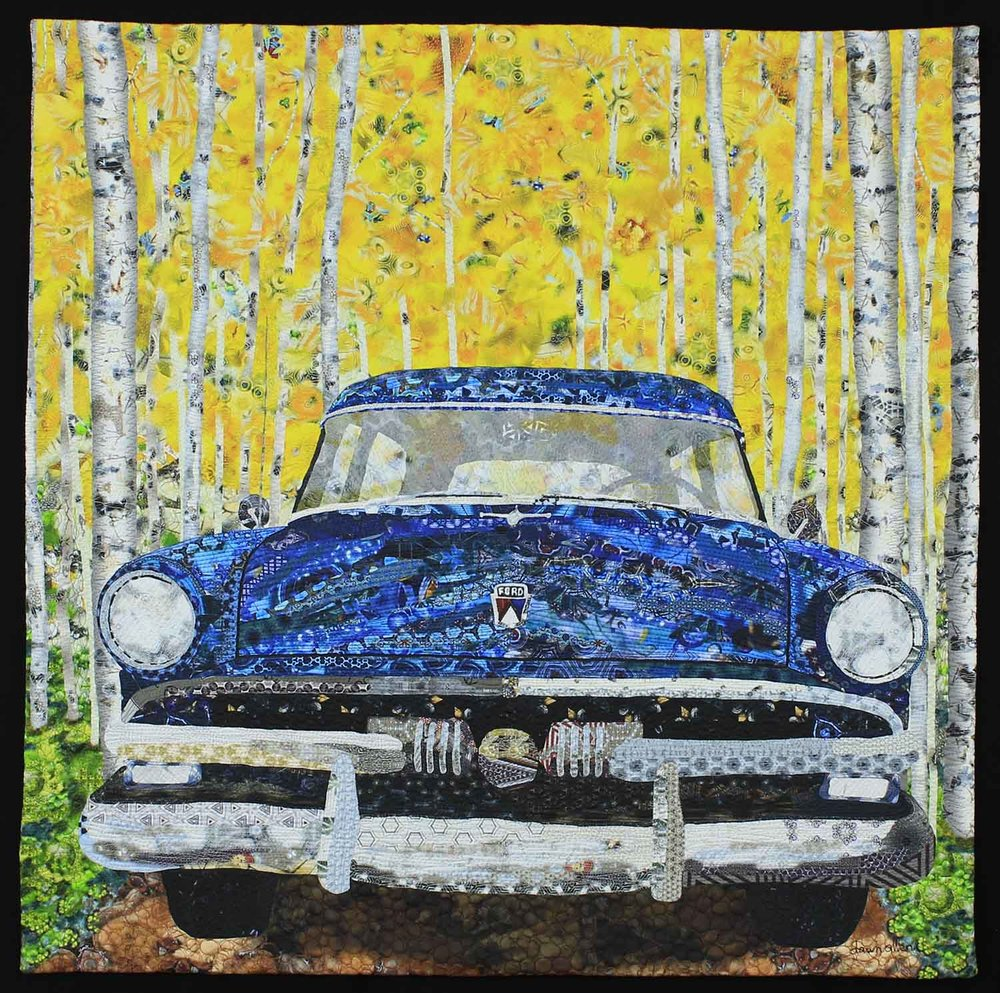 "1953 Ford in the Aspens . 34"" x 34"" Cotton fabric quilted."