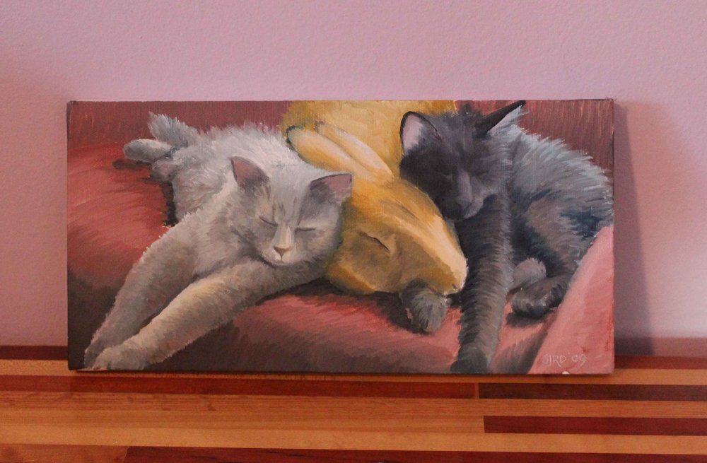 My artist friend,  Suzanna Roberts , painted this portrait of my kittens and rabbit for me. It is so nice to have such a personal piece in the house.