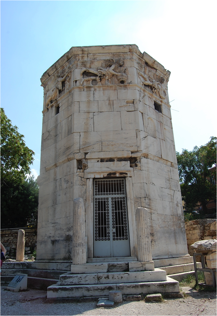 In Athens, it is related to a capital type usually associated with this building, called, since the eighteenth century, the Tower of the Winds, after the sculptures of the celebrated ancient eight winds on its eight faces.