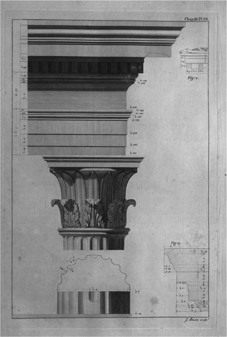 This image shows the Capital of the porches in relation to its Entablature and Shaft.  This plate would have a huge influence on American architecture in the late eighteenth and early nineteenth centuries, especially in the South.  As a result, today we call this capital type the Tower of the Winds Order.