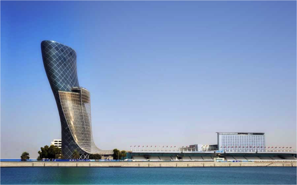 "So, what can this contemporary project, the  Capital Gate Tower  in Abu Dhabi contribute to the issue of Ornament, Motif, and meaning?  At the very least, it strongly indicates that Robert Venturi was onto something important when he broadly categorized architectural forms into ""Decorated sheds,"" or ""Ducks"" ( Learning From Los Vegas , 1972/1977).  We need not unconditionally embrace the whole of his theory if we observe that the Capital Gate Tower is a ""duck"" of a striking sort.  While eschewing traditionally recognizable surface ornament, it itself is One Massive Piece of Ornament."
