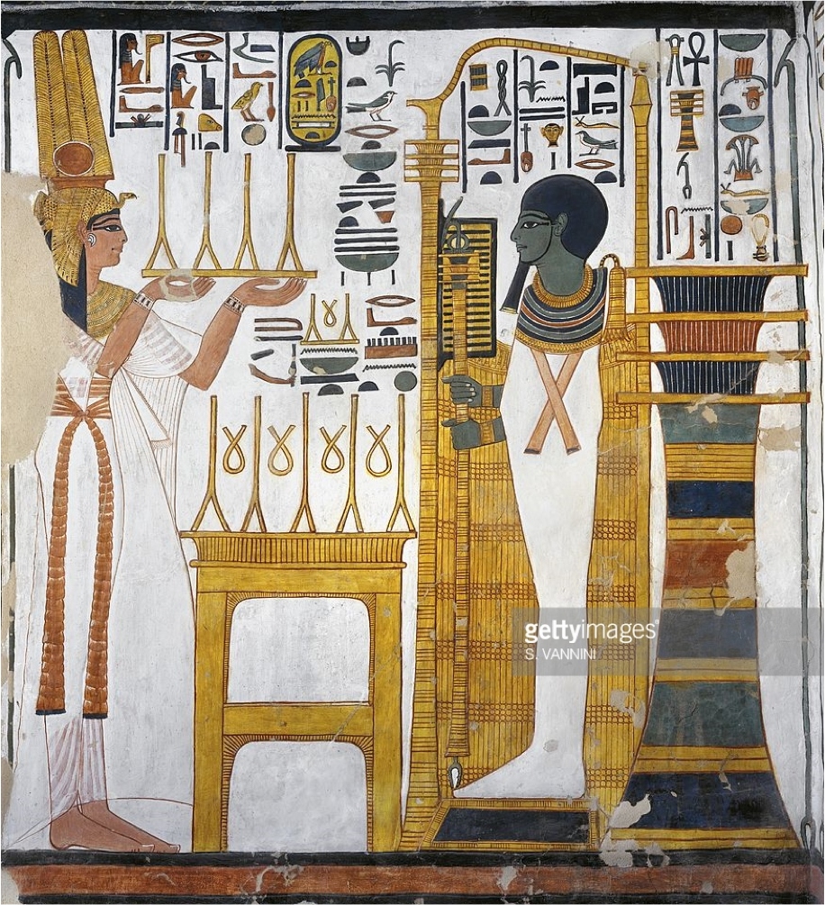 In this next image, found in, Thebes, in the Valley of the Queens, in the tomb of Nefertari, the Consort of Seti-the-First's Successor, Ramses II, the Queen is represented making an Offering to the God Ptah, in the Form of Osiris, and standing before a Djed Pillar, while also holding a Djed Scepter.   The Djed is a multifaceted Hieroglyphic Form.  While intrinsically associated with Osiris, and concurrently signifying stability and continuity, is also found in the most fundamental of Iconic scenes, the Creation of the Cosmos, where among its various multivalent manifestations is its representing the Ur life-form emerging out of the primal mound.