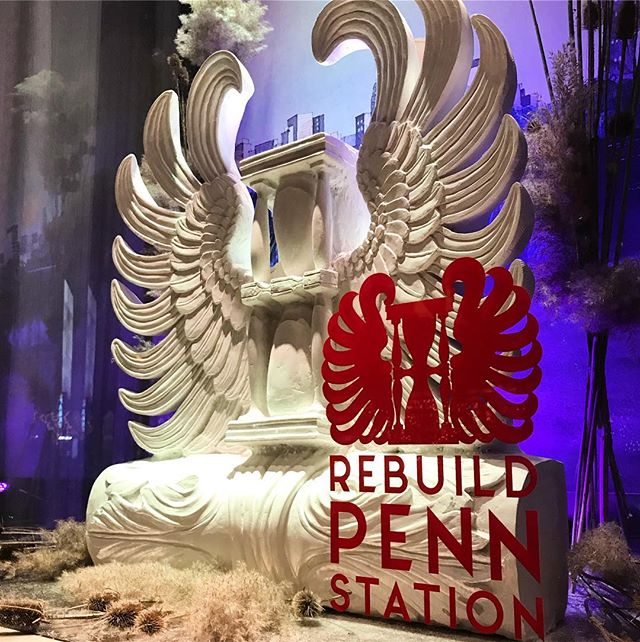 Window #2 The winged hourglass fragment from the wreathed clock that sat above the four main entries to the original Penn Station. Sculpted for us by Edmond Qushku in plaster. #rebuildpennstation #atelierandco