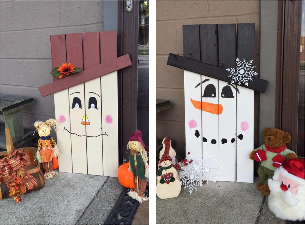 Large Reversible Snowman/Scarecrow Wooden Decoration - Ring in the fall and winter seasons with a cute (and reversible) Festive Scarecrow and Jolly Snowman for your home!  Made of wooden pallets, one side is painted and decorated as a scarecrow and the other as a snowman - with your personal touch.  Paint, draw and adorn your one-of-a-kind, seasonal creation just as you please!Size: 14in x 32.5inCost: $40