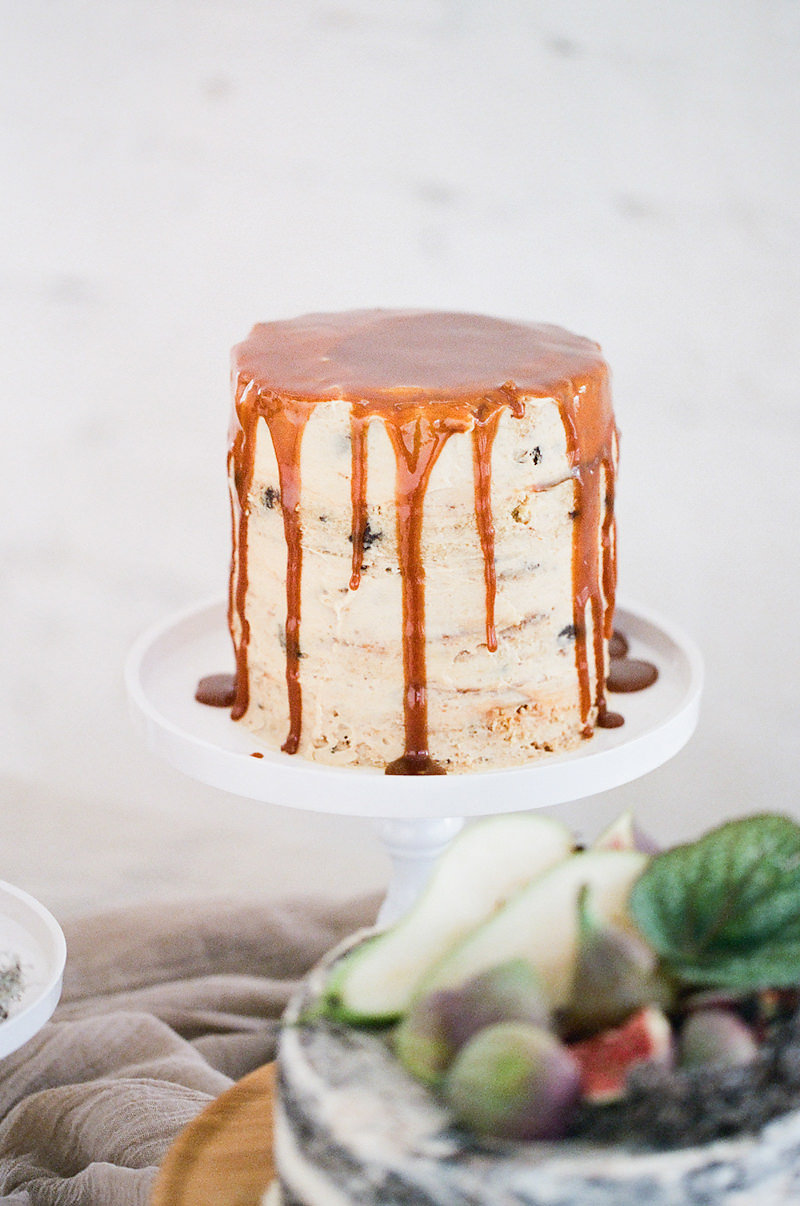 Brown butter frosted chocolate chip cake with a whiskey caramel drizzle
