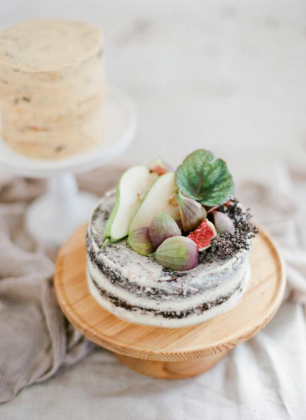 Cream cheese frosted dark chocolate cake