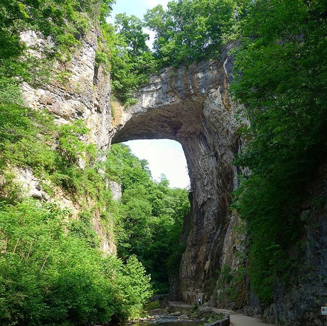 The Natural Bridge - spot Charles for scale at the bottom . . . . . #coasttocoast #newyorktosanfrancisco #biketripping #bikelife #biketouring #cycletouring #cyclotouring #cycletheworld #adventure #travel #adventuretravel #wanderlust #explore #Virginia #va #vagaband #vagabandits #naturalbridge #naturalbridgestatepark
