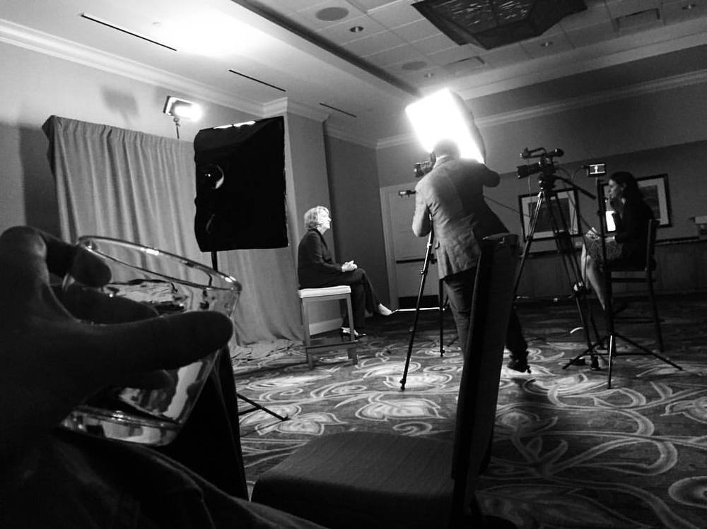 Behind the scenes at a locked-down two-camera video interview