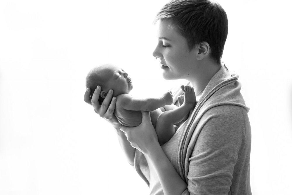 mom and newborn baby boy