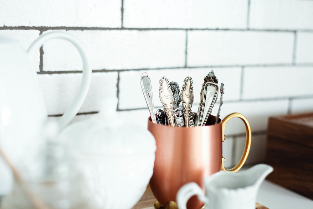 Style tip: Display vintage spoons in a cup for everyday mixing coffee/tea.