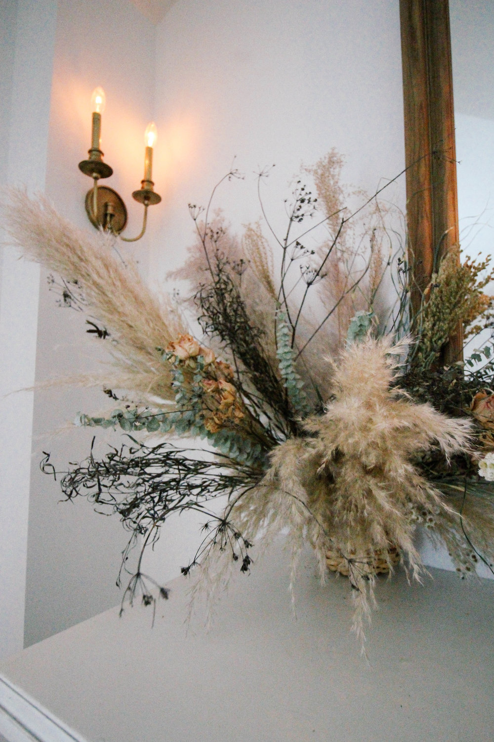 Dried Floral Bouquet displayed in my dining room. Those colors and texture is everything!